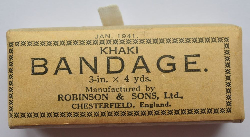 1941 WWII UK Britain Unused Pack of Khaki Bandage FM Soldier's First Aid Kit