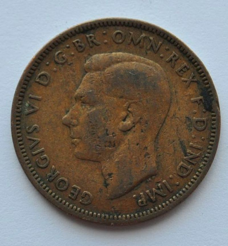 1944 UK Great Britain Half Penny Coin VF-   eBay