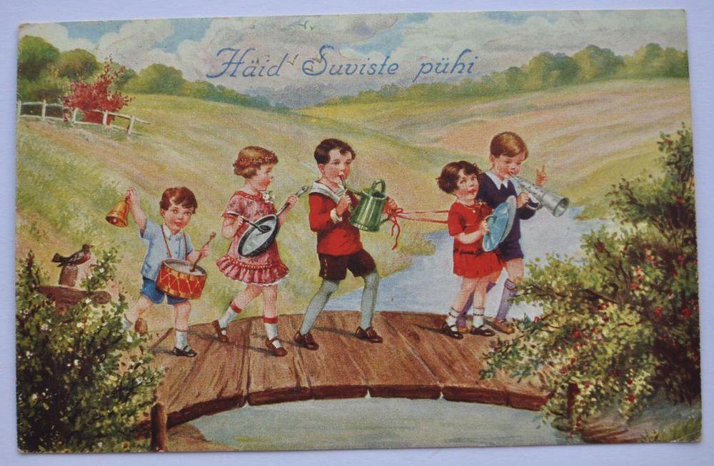 1930s Estonia Vintage Summer Greetings Postcard Children ...