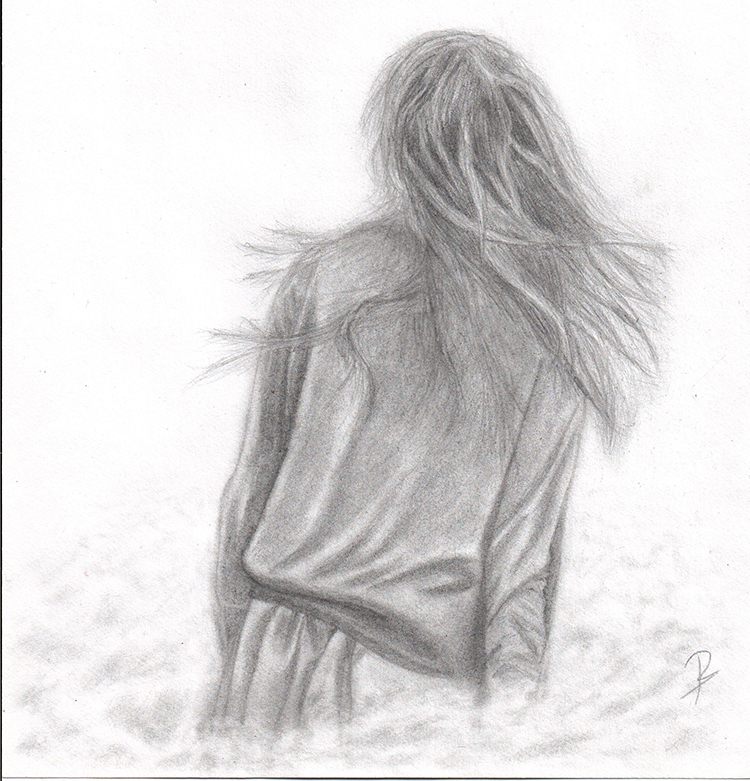 This is an image of Gratifying Girl Back View Drawing