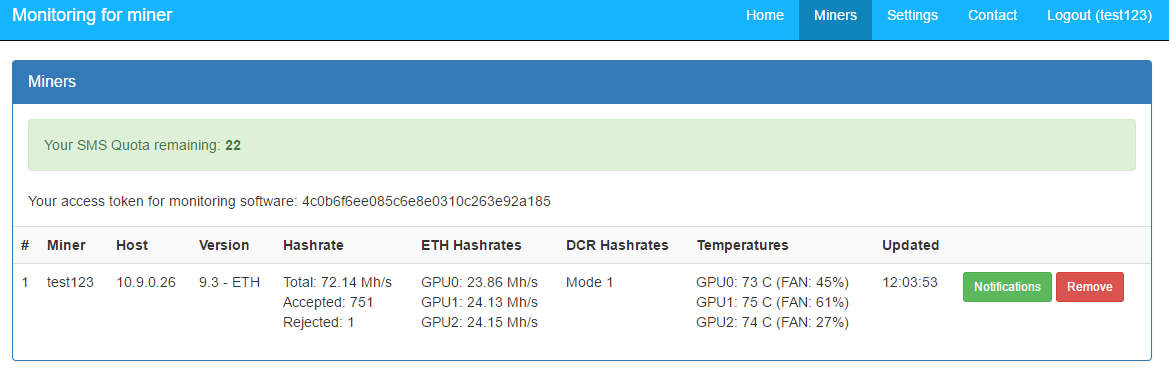 Claymore's Dual Ethereum GPU Miner monitoring with SMS